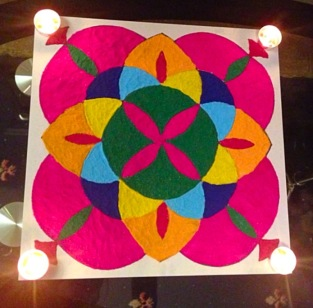 Rangoli pattern by my cousin and aunt